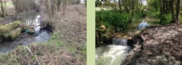 Watercourse Repairs – before and after, Worton, near Devizes, Wiltshire