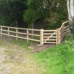Boundary post and rail fence & gate, Shaftesbury
