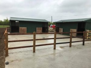 A few pictures of the new build equestrian yard coming together just entrance walls and electric gates to complete and water troughs to go in when dry enough