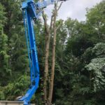 Dismantling a storm-damaged tree with one of our Cherry Pickers
